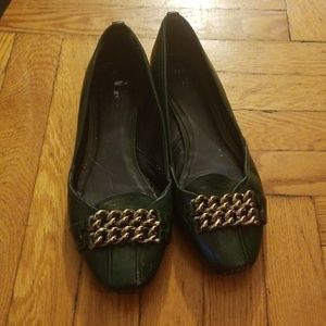 Tory Burch Flats - Dark green with gold metal hard